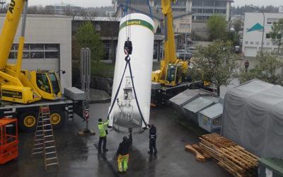 April 2019: neuer und größerer Stickstofftank aufgebaut